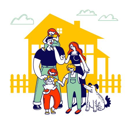 Child Adoption Concept. Big Happy Family of Parents, Kids and Dog Stand at House Front Yard at Summer Time. Mother Father and Children Loving Relations. Cartoon Flat Vector Illustration, Line Art 일러스트