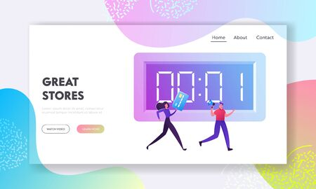 Big Sale and Buy Now Campaign Website Landing Page. Woman with Credit Card Following Man with Megaphone in Hands Running near Huge Countdown Stopwatch Web Page Banner. Cartoon Flat Vector Illustration