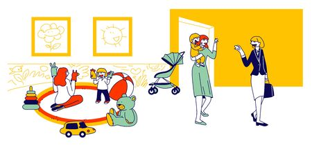 Babysitter and Nanny Occupation Concept. Nursery Persons Playing with Children, Care of Newborn Toddlers. Educational Profession, Work with Infant Babies Cartoon Flat Vector Illustration, Line Art