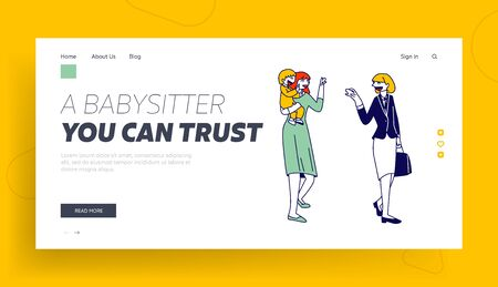 Private Kindergarten Service for Busy Parents Website Landing Page. Young Woman Mother Leaving her Baby to Babysitter, Nursery Profession Web Page Banner. Cartoon Flat Vector Illustration, Line Art Ilustracja
