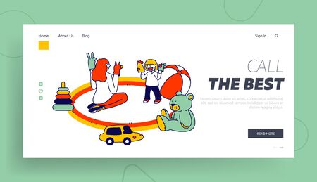 Babysitter Service, Private Kindergarten at Home Website Landing Page. Young Woman Sitting on Floor Playing Puppet Show with Little Toddler Web Page Banner. Cartoon Flat Vector Illustration, Line Art Ilustracja