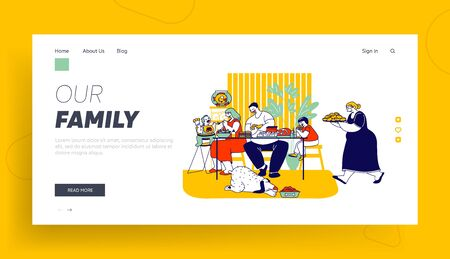 Family Eating Unhealthy Fat Food Website Landing Page. Sick Mother, Father and Kids Sitting at Table, Grandmother Carry Tray with Bakery Web Page Banner. Cartoon Flat Vector Illustration, Line Art