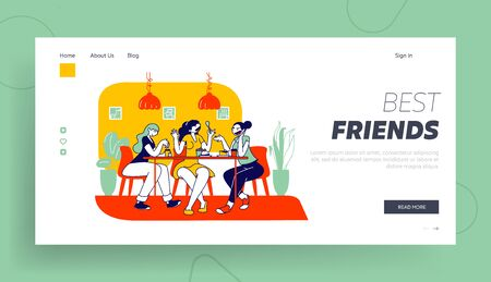 Weekend Lunch Recreation Website Landing Page. Happy Girl Friends Company Sitting in Cafe Chatting Drinking Coffee with Pastry and Bakery Web Page Banner. Cartoon Flat Vector Illustration, Line Art Ilustracja