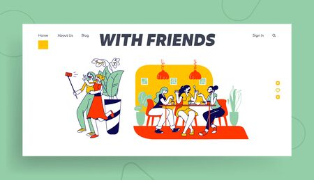 Girlfriends Spend Time Together Website Landing Page. Happy Girl Friends Having Fun Sitting in Cafe Chatting and Making Selfie. Friendship Web Page Banner. Cartoon Flat Vector Illustration, Line Art Illustration