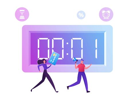 Woman Holding Credit Card Following Man with Megaphone in Hands Running near Huge Countdown Stopwatch and Shopping icons flying around. Big Sale and Buy Now Campaign Cartoon Flat Vector Illustration Illustration