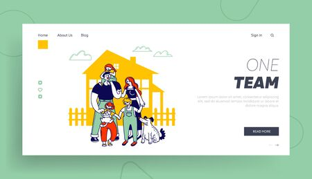 Child Adoption Website Landing Page. Big Happy Family Parents, Kids and Dog Stand at House Front Yard at Summer. Mother Father and Children Web Page Banner. Cartoon Flat Vector Illustration, Line Art