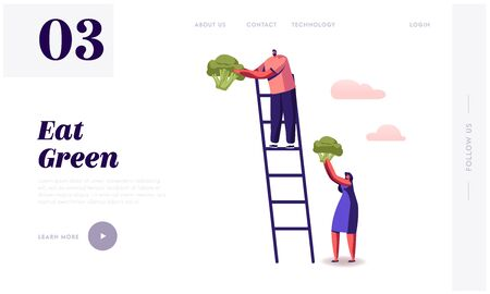 Healthy Nutrition, Vitamins and Ketogenic Diet Website Landing Page. Man Stand on Ladder, Woman Holding Huge Broccoli Piece, Low Carbs Eating Cooking Web Page Banner. Cartoon Flat Vector Illustration