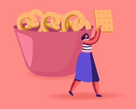 Snack, Fast Food with High Level of Carb Concept. Tiny Female Character Carry Huge Cookie Cracker Passing by Bowl with Baked Pretzels. High-Calorie Unhealthy Nutrition Cartoon Flat Vector Illustration  イラスト・ベクター素材