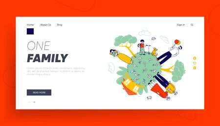 Big Happy Family Website Landing Page. Grandparents, Parents and Children at Green Earth Globe with House and Trees. Father, Mother and Baby Web Page Banner. Cartoon Flat Vector Illustration, Line Art 일러스트