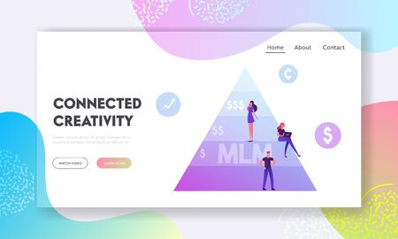 Multi Level Marketing Website Landing Page. People Stand on MLM Pyramid. Commercial Project Methods of Business Development, Working Hierarchy Scheme Web Page Banner. Cartoon Flat Vector Illustration Illustration