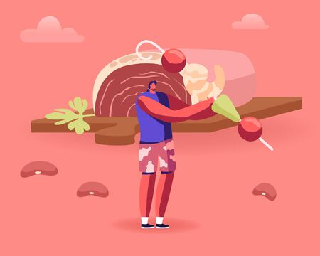 Traditional Brazilian Cuisine Concept Man Holding Huge Stick with Shrimps and Tomatoes with Beans Scattered around and Huge Piece of Raw Meat on Background. Tasty Food Cartoon Flat Vector Illustration