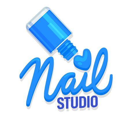 Nail Studio Icon ou Tag Concept. Bouteille polonaise bleue et typographie Manucure créative ou étiquette de salon de beauté de pédicure pour la marque ou l'affiche Bannière Flyer Brochure Design Cartoon Flat Vector Illustration Vecteurs