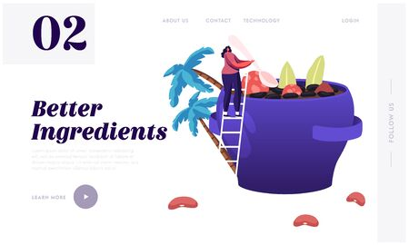 Brazil Food Website Landing Page. Tiny Woman Stand on Ladder Cooking Traditional Delicious Feijoada Meal Made of Stew of Beans with Beef and Pork Web Page Banner. Cartoon Flat Vector Illustration Иллюстрация