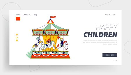 Weekend Recreation for Kids Website Landing Page. Happy Children Riding Merry-go-round Carousel in Amusement Entertainment Park. Vacation Web Page Banner. Cartoon Flat Vector Illustration, Line Art Ilustração