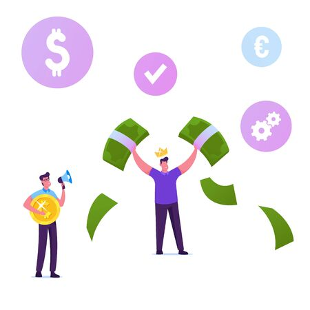 Happy Male Character Wearing Golden Crown on Head Demonstrate Money, Holding Huge Dollar Bills in Hands. Man with Megaphone Hold Coin. Mlm Pyramid Business Strategy Cartoon Flat Vector Illustration Ilustração