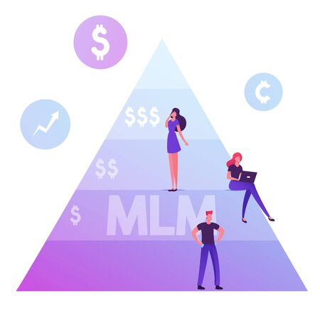 People Stand on MLM Pyramid. Multi Level Marketing Concept. Commercial Project Methods of Business Development, Hierarchy Scheme. Man with Empty Pockets, Women Working Cartoon Flat Vector Illustration Ilustração
