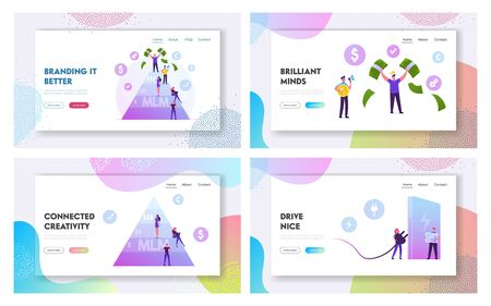 Mlm Business, Eco Transport Website Landing Page Set. Happy Man on Top Holding Money Bills. Worker with Empty Pockets. Environment Ecology Protection Web Page Banner. Cartoon Flat Vector Illustration