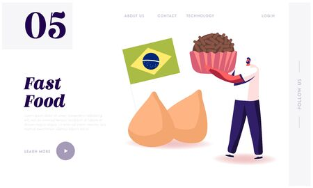 Traditional Food of Latin America Website Landing Page. Man Holding Brazilian Truffle Candy Brigadeiro with Brazil National Flag and Chicken Coxinhas Web Page Banner. Cartoon Flat Vector Illustration