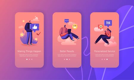 People Giving Thanks in Internet Networks Mobile App Page Onboard Screen Set. Characters Express Gratitude and support for Service Concept for Website or Web Page, Cartoon Flat Vector Illustration