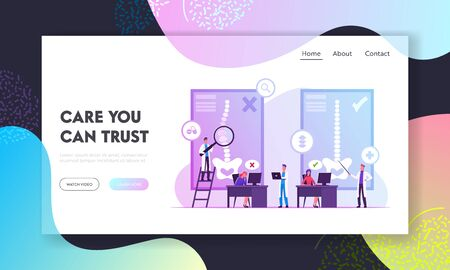 Scoliosis and Spine Backbone Curvature Website Landing Page. Woman Sitting at Desk at Correct and Wrong Posture. Healthy and Unhealthy Body Pose Web Page Banner. Cartoon Flat Vector Illustration