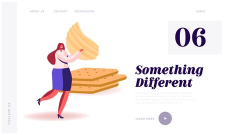 Snack, Fast Food with High Level of Carb and Calories Unhealthy Nutrition Website Landing Page. Woman Carry Chips Passing by Pile of Cookies Crackers Web Page Banner. Cartoon Flat Vector Illustration