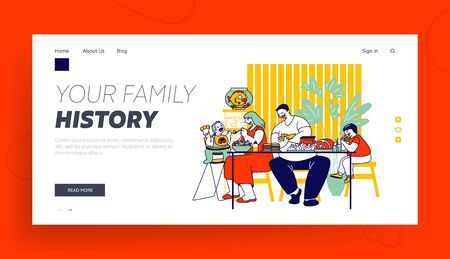 Family Unhealthy Eating Website Landing Page. Fatty Mom, Dad and Children Sitting at Table with Plenty of Fat Food Contain Carbs and Oils Web Page Banner. Cartoon Flat Vector Illustration, Line Art