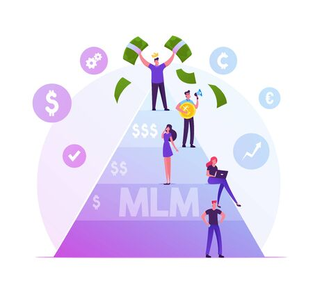 MLM. Multi Level Marketing Business Concept with People Stand on Different Levels of Finance Pyramid, Happy Man on Top Holding Money Bills. Enrichment Fraud Scheme Cartoon Flat Vector Illustration