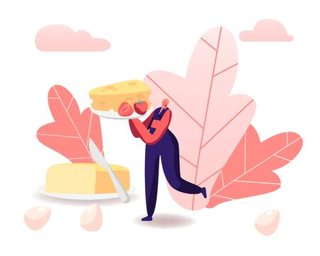 Keto Diet Concept. Woman Carry Tray with Cheese and Strawberry. Low Carb and High Fat Level Healthy Ketogenic State for Fasting and Healing. Protein and Omega 3 Oils Cartoon Flat Vector Illustration Ilustrace