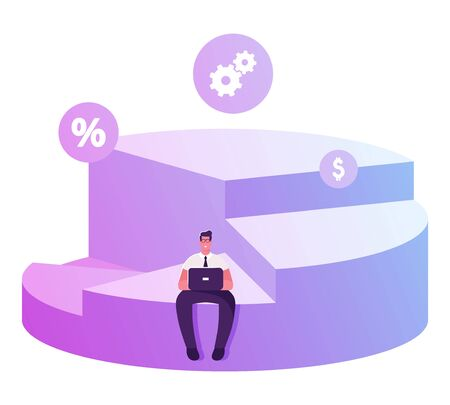 Businessman Shareholder Sitting on Top of his Portion of Pie Chart Working on Laptop. Diagram Depicts Profit Sharing, Successful Partnership, Company Shares Ownership Cartoon Flat Vector Illustration  イラスト・ベクター素材