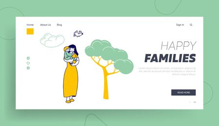 Maternity Love Family Website Landing Page. Happy Woman Walk with Child in City Park. Young Mother Holding Baby on Hands at Nature Landscape Web Page Banner. Cartoon Flat Vector Illustration, Line Art Ilustracja