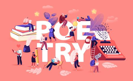 People Enjoying Reading and Writing Poetry Concept. Characters Read Classic Verses Books, Literature Poems. Ink Feather Usage Romantic Poster Banner Flyer Brochure. Cartoon Flat Vector Illustration Ilustração Vetorial