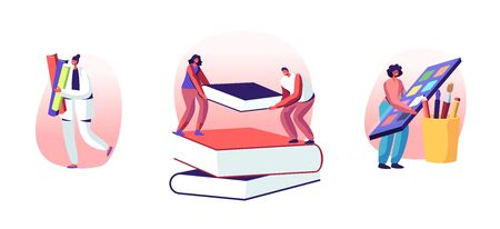 Education and Knowledge Concept. Women and Men Characters Holding Huge Book, Girl with Paints Palette, Young People Students Prepare for Examination, Make Homework. Cartoon Flat Vector Illustration