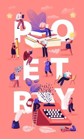 Gente disfrutando leyendo y escribiendo concepto de poesía. Los personajes leen libros de versos clásicos, poemas de literatura. Folleto de volante de cartel romántico de uso de pluma de tinta. Ilustración de Vector plano de dibujos animados