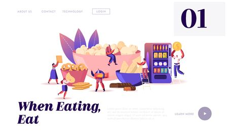 People Eating Snacks Website Landing Page. Characters Enjoying Dry Appetizers Pop Corn, Pretzel Biscuits Chips Sweets and Donuts, Vending Machine Web Page Banner. Cartoon Flat Vector Illustration Ilustrace