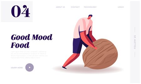 Wellbeing Lifestyle Website Landing Page. Man Rolling Huge Nut. Healthy Organic Nutrition with Low Carbs. Male Character on Keto Diet, Eco Nutrition Web Page Banner. Cartoon Flat Vector Illustration Ilustração