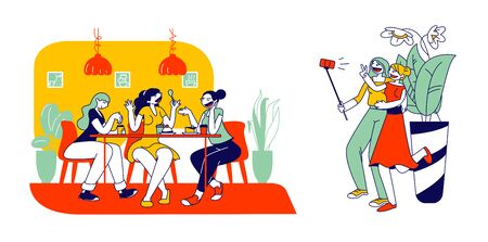 Friendship Concept. Happy Girl Friends Having Fun Sitting in Cafe Chatting, Drinking Coffee and Making Selfie on Smartphone. Girlfriends Spend Time Together. Cartoon Flat Vector Illustration, Line Art