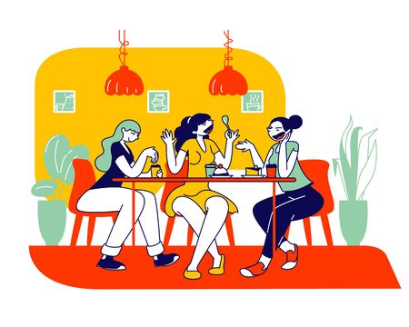 Happy Girls Friends Company Sitting in Cafe Chatting and Drinking Coffee with Pastry and Bakery. Students or Office Workers Lunch Break, Weekend Recreation Cartoon Flat Vector Illustration, Line Art