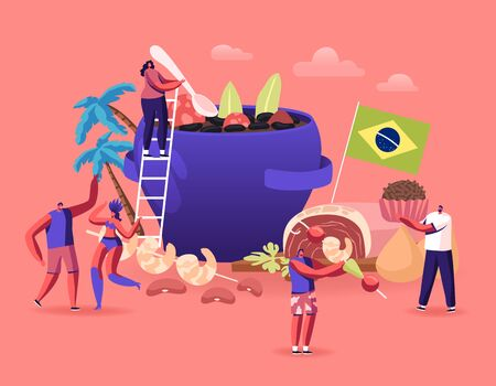 Brazilian Cuisine Concept. Tiny Male and Female Characters and Typical Brazil Dishes Feijoada Stew of Beans with Beef and Pork, Truffle Candy Brigadeiro, Fried Shrimps Cartoon Flat Vector Illustration