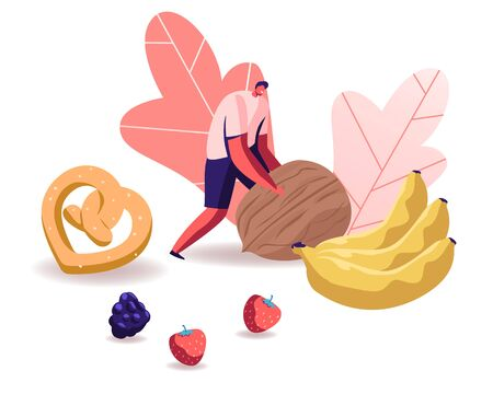 Man Rolling Huge Nut with Pretzel, Bananas and Berries Scattered around. Healthy Organic Nutrition with Low Carbs. Male Character on Keto Diet, Wellbeing Lifestyle Cartoon Flat Vector Illustration  イラスト・ベクター素材