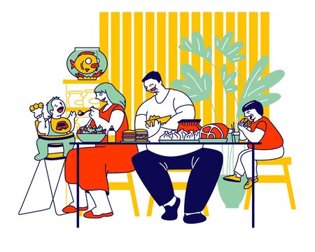 Family Unhealthy Eating Concept. Fatty Mother, Father and Children Sitting at Table with Plenty of Fat Food Contain Carbohydrates and Oils. Mom Feeding Baby Cartoon Flat Vector Illustration, Line Art Ilustração