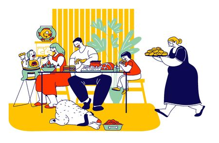 Family Eating Unhealthy Food with High Level Fat, Carbs. Mother, Father and Kids Sitting at Table, Grandmother Carry Tray with Bakery, Thick Dog Eat on Floor Cartoon Flat Vector Illustration, Line Art  イラスト・ベクター素材