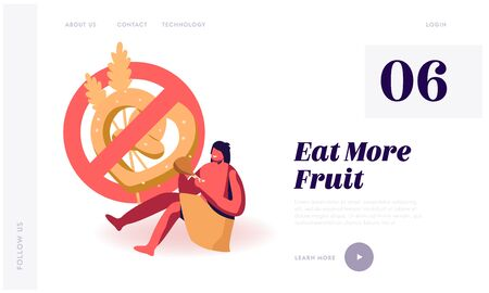 Paleo Diet, Nutrition of Ancient People Website Landing Page. Cave Human Child Wearing Animal Skin Eating Meat with Sign Prohibit Bakery Production Web Page Banner. Cartoon Flat Vector Illustration