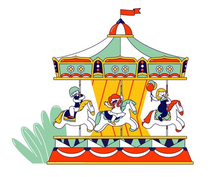 Happy Children Riding Merry-go-round Carousel in Amusement Entertainment Park. Weekend Recreation for Kids, Spare Time on Vacation or Holidays, Leisure Cartoon Flat Vector Illustration, Line Art