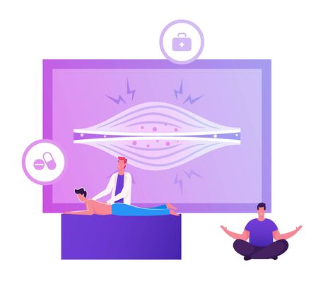Chiropractic Physiotherapist Making Massage to Male Patient with Pain in Back front of Huge Screen with Tensed Muscles Infographics. Male Character Sit in Lotus Pose Cartoon Flat Vector Illustration