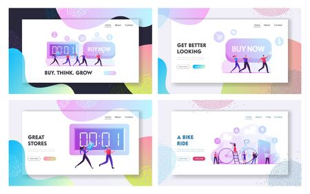 Buy Now Campaign, People Use Eco Bicycle Transportation Website Landing Page Set. Shopaholics Making Purchases Online, Eco Bike Healthy Lifestyle Web Page Banner. Cartoon Flat Vector Illustration 向量圖像