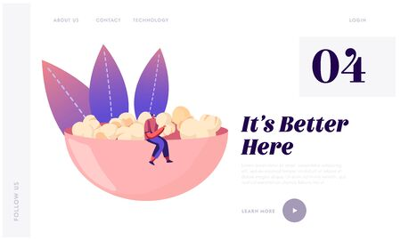 People Choose Crisp Food Website Landing Page. Male Character in Hipster Clothing Sitting on Huge Bowl Full of Pop Corn Enjoying Sweet Snack Eating Web Page Banner. Cartoon Flat Vector Illustration  イラスト・ベクター素材