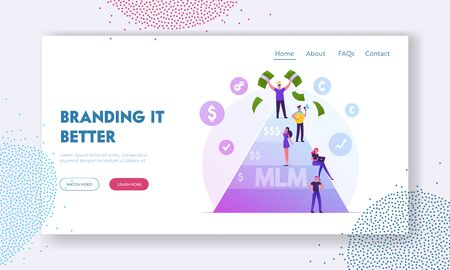 MLM. Multi Level Marketing Business Website Landing Page. People Stand on Different Levels of Finance Pyramid Hope to Earn Money, Enrichment Scheme Web Page Banner. Cartoon Flat Vector Illustration Illustration