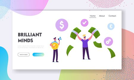 Mlm Pyramid Business Strategy Website Landing Page. Happy Male Character Wearing Golden Crown on Head Demonstrate Money, Man with Megaphone Hold Coin Web Page Banner. Cartoon Flat Vector Illustration