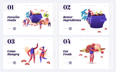 Typical Brazilian Dishes, Fiesta Website Landing Page Set. People Cooking and Eating Traditional Brazil Food Feijoada Soup with Beans, Candy Brigadeiro Web Page Banner Cartoon Flat Vector Illustration 일러스트