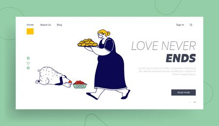 Granny Bake Patties for Family Website Landing Page. Senior Woman Carry Tray with Pile of Fresh Pies. Grandmother Hospitality and Fat Food Web Page Banner. Cartoon Flat Vector Illustration, Line Art